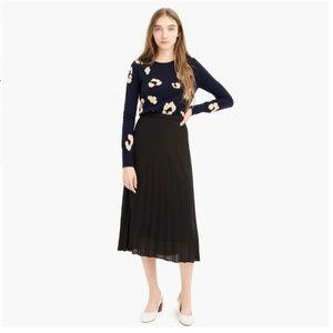 J. Crew Petite Pleated Midi Skirt in Black